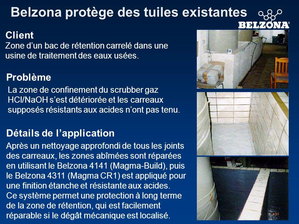 Client Problème Détails de lapplication Belzona protège des tuiles existantes Zone dun bac de rétention carrelé dans une usine de traitement des eaux