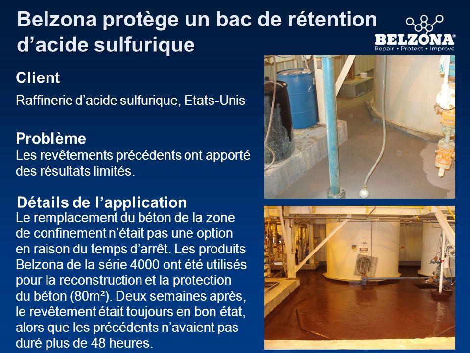 Client Problème Détails de lapplication Belzona protège un bac de rétention dacide sulfurique Raffinerie dacide sulfurique, Etats-Unis Les revêtements