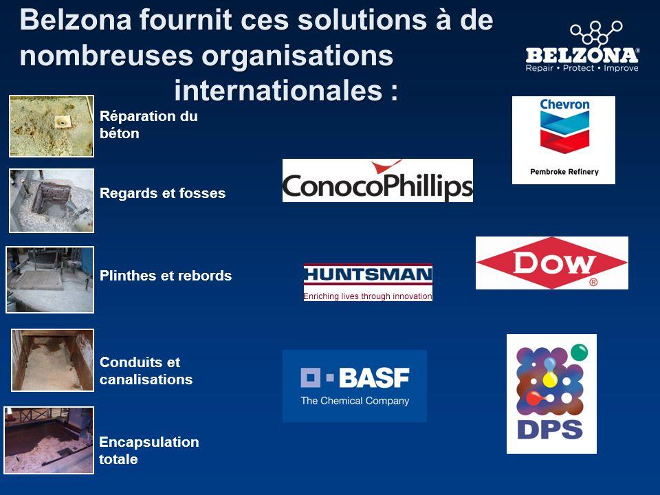 Belzona fournit ces solutions à de nombreuses organisations internationales : internationales : Regards et fosses Plinthes et rebords Conduits et cana