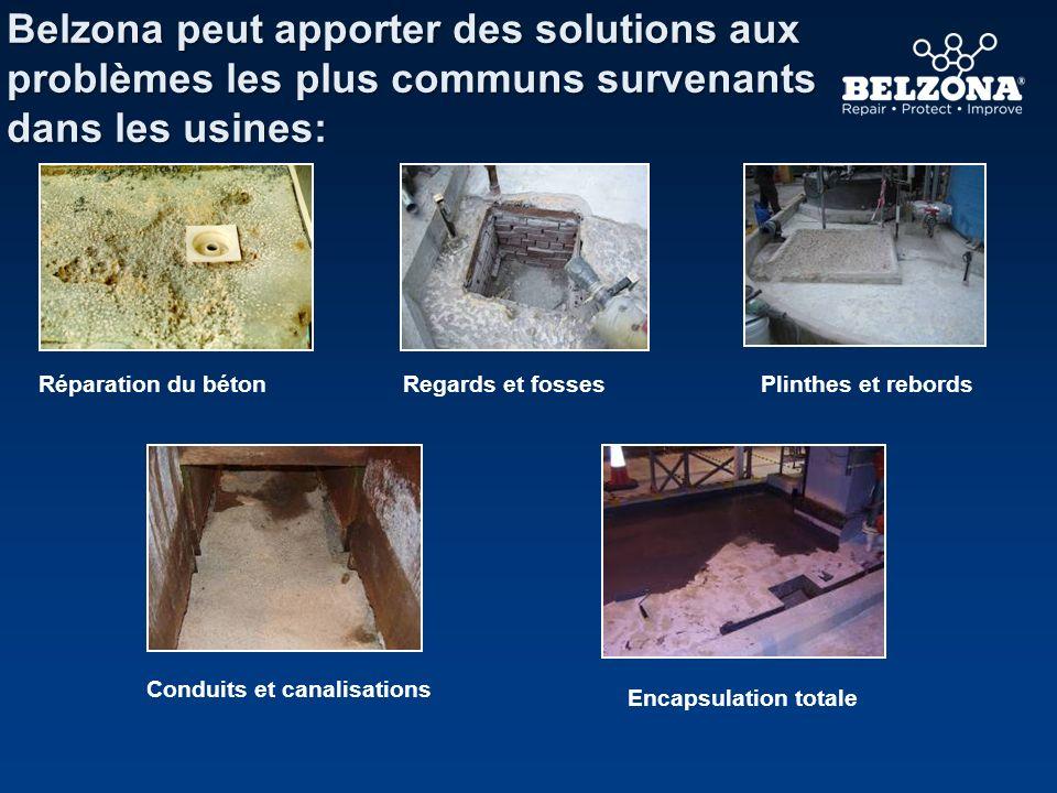 Belzona peut apporter des solutions aux problèmes les plus communs survenants dans les usines: Conduits et canalisations Réparation du bétonPlinthes e