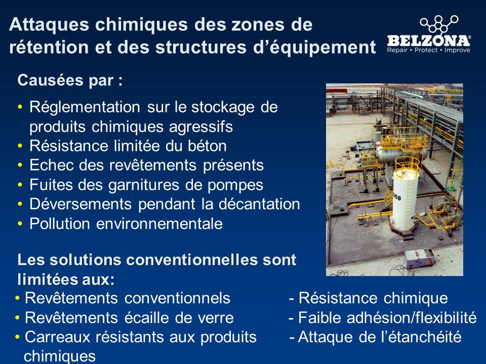 Attaques chimiques des zones de rétention et des structures déquipement Causées par : Réglementation sur le stockage de produits chimiques agressifs R