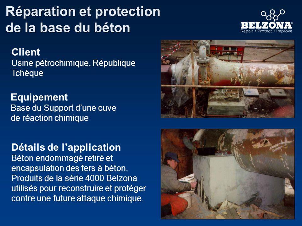 Détails de lapplication Béton endommagé retiré et encapsulation des fers à béton. Produits de la série 4000 Belzona utilisés pour reconstruire et prot