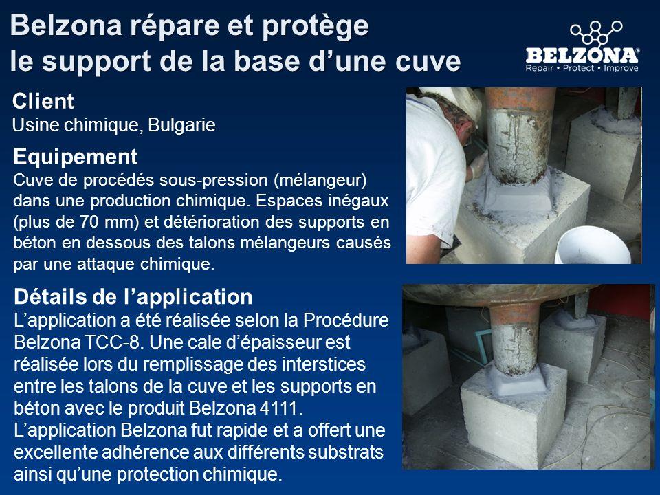 Détails de lapplication Lapplication a été réalisée selon la Procédure Belzona TCC-8. Une cale dépaisseur est réalisée lors du remplissage des interst