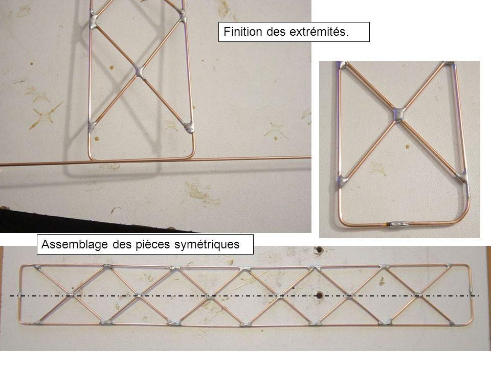 Finition des extrémités. Assemblage des pièces symétriques