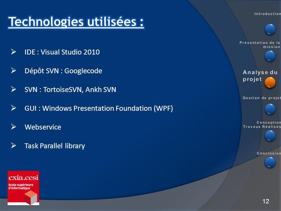 12 IDE : Visual Studio 2010 Dépôt SVN : Googlecode SVN : TortoiseSVN, Ankh SVN GUI : Windows Presentation Foundation (WPF) Webservice Task Parallel li
