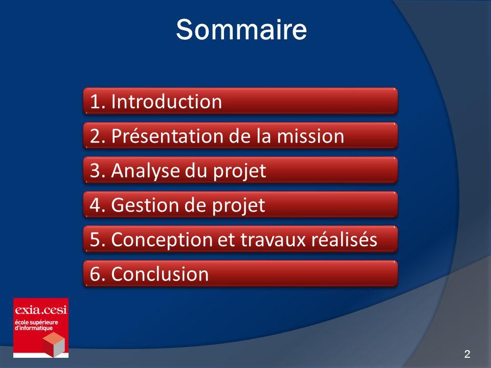 2 Sommaire 1. Introduction 4. Gestion de projet 2. Présentation de la mission 5. Conception et travaux réalisés 6. Conclusion 3. Analyse du projet