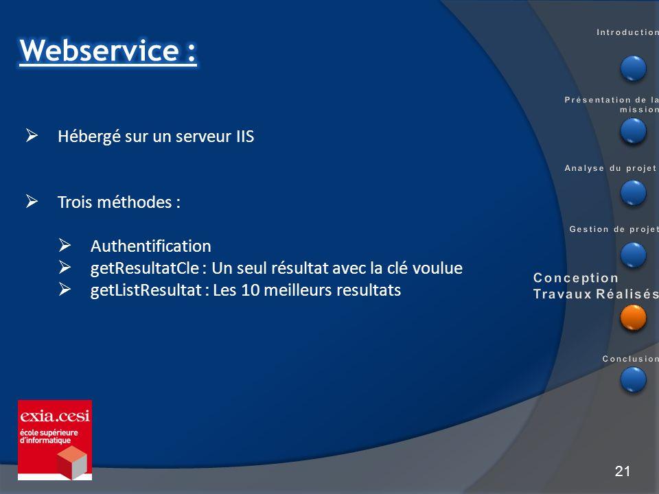 21 Hébergé sur un serveur IIS Trois méthodes : Authentification getResultatCle : Un seul résultat avec la clé voulue getListResultat : Les 10 meilleur