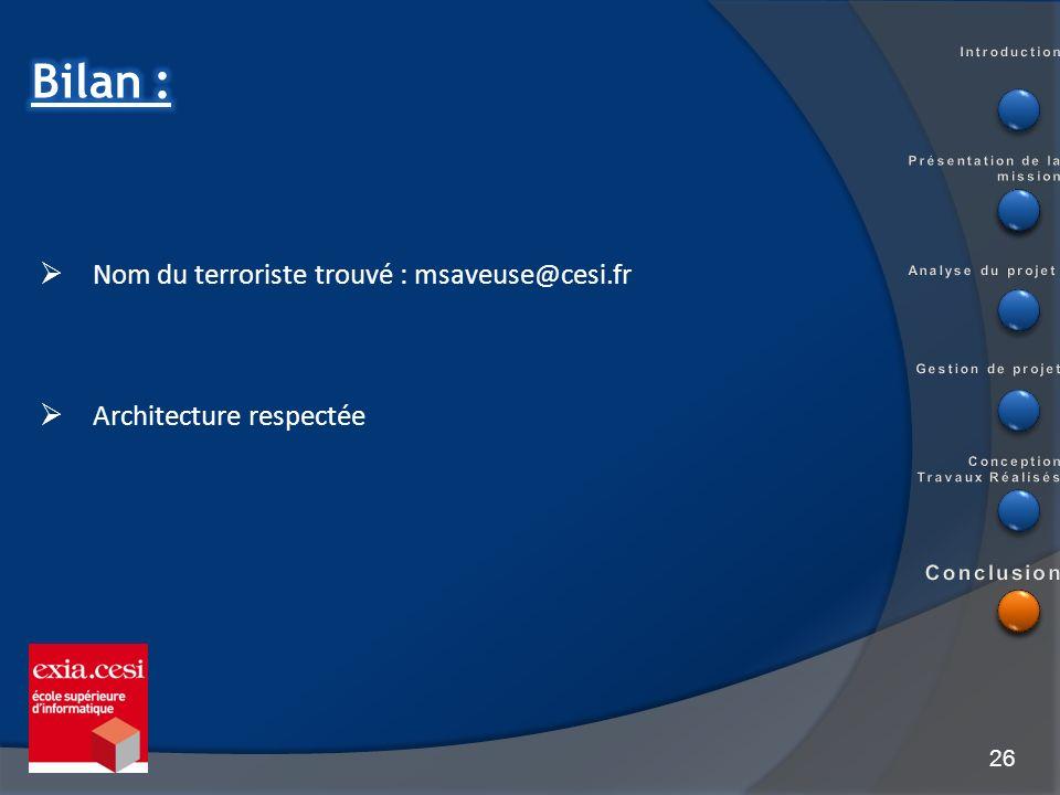 26 Nom du terroriste trouvé : msaveuse@cesi.fr Architecture respectée