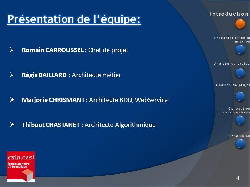 4 Romain CARROUSSEL : Chef de projet Régis BAILLARD : Architecte métier Marjorie CHRISMANT : Architecte BDD, WebService Thibaut CHASTANET : Architecte