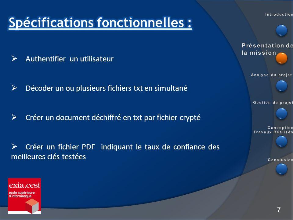 7 Authentifier un utilisateur Décoder un ou plusieurs fichiers txt en simultané Créer un document déchiffré en txt par fichier crypté Créer un fichier