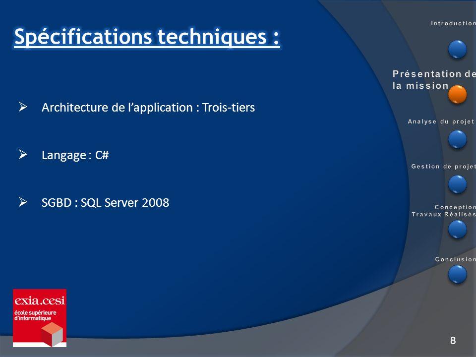 8 Architecture de lapplication : Trois-tiers Langage : C# SGBD : SQL Server 2008