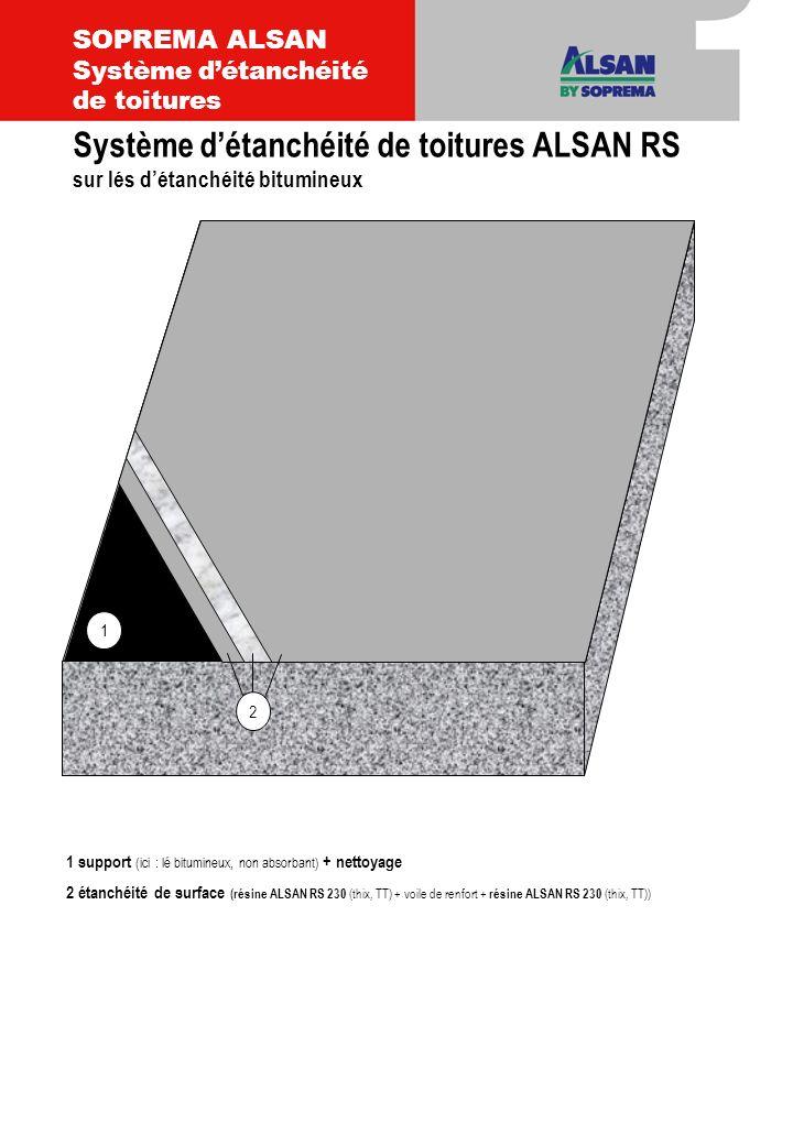 1 support (ici : lé bitumineux, non absorbant) + nettoyage 2 étanchéité de surface (résine ALSAN RS 230 (thix, TT) + voile de renfort + résine ALSAN R