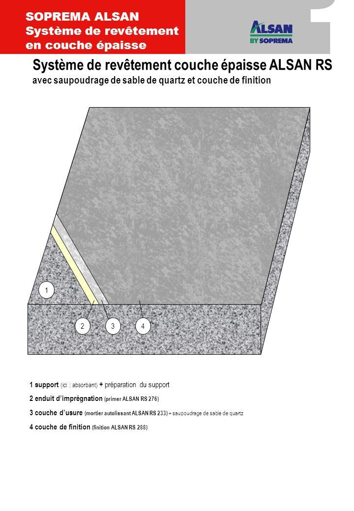 1 support (ici : absorbant) + préparation du support 2 enduit dimprégnation (primer ALSAN RS 276) 3 couche dusure (mortier autolissant ALSAN RS 233) 4 couche de finition (finition ALSAN RS 288 + saupoudrage de chips) 34 1 2 Système de revêtement couche épaisse ALSAN RS avec couche de finition et saupoudrage de chips SOPREMA ALSAN Système en couche épaissse