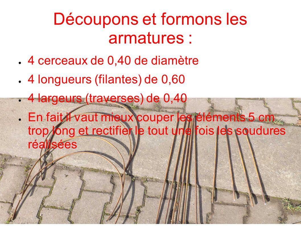 Découpons et formons les armatures : 4 cerceaux de 0,40 de diamètre 4 longueurs (filantes) de 0,60 4 largeurs (traverses) de 0,40 En fait il vaut mieu