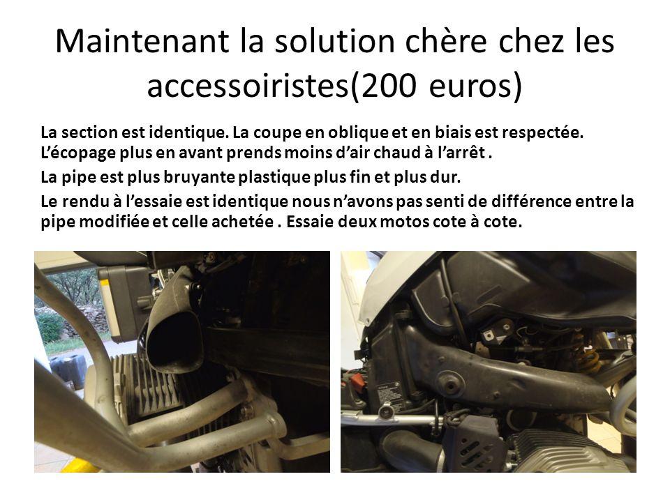 Maintenant la solution chère chez les accessoiristes(200 euros) La section est identique. La coupe en oblique et en biais est respectée. Lécopage plus