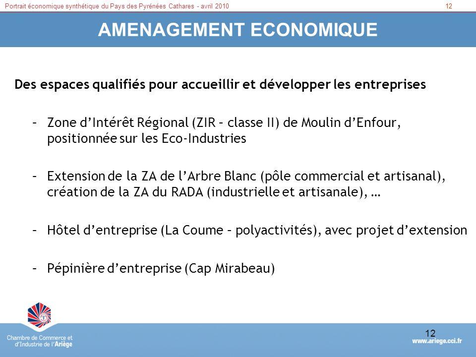 12Portrait économique synthétique du Pays des Pyrénées Cathares - avril 2010 12 AMENAGEMENT ECONOMIQUE Des espaces qualifiés pour accueillir et dévelo