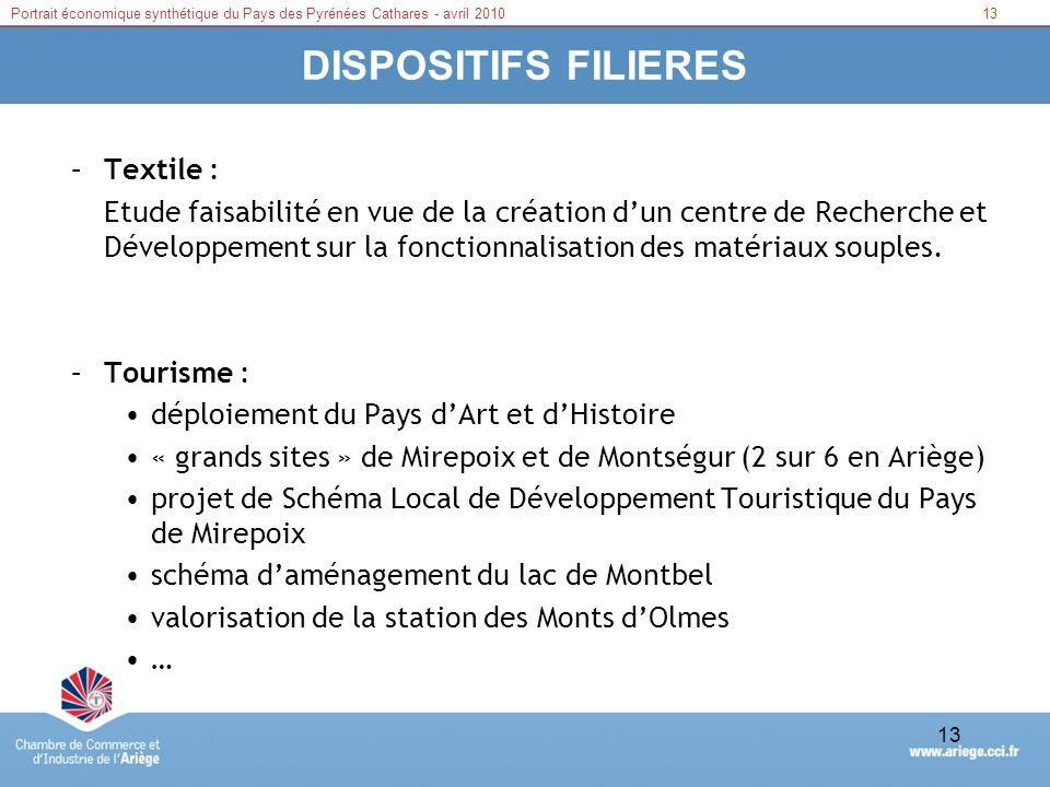 13Portrait économique synthétique du Pays des Pyrénées Cathares - avril 2010 13 DISPOSITIFS FILIERES –Textile : Etude faisabilité en vue de la créatio