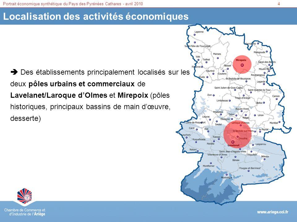 4Portrait économique synthétique du Pays des Pyrénées Cathares - avril 2010 Localisation des activités économiques Des établissements principalement l
