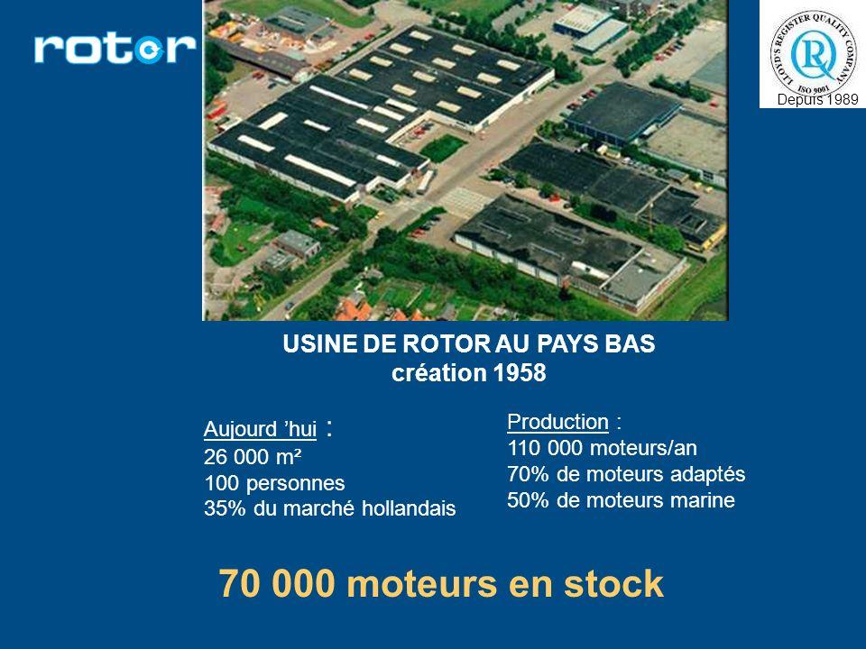 USINE DE ROTOR AU PAYS BAS création 1958 Aujourd hui : 26 000 m² 100 personnes 35% du marché hollandais Production : 110 000 moteurs/an 70% de moteurs