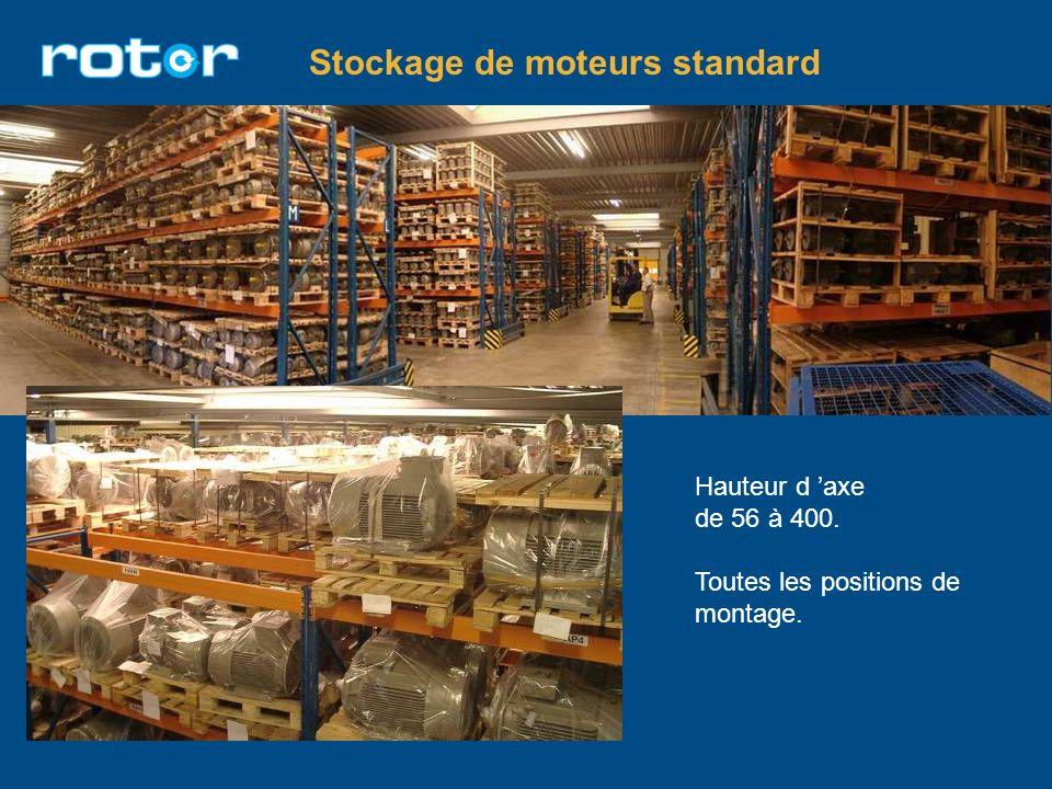 Stockage de moteurs standard Hauteur d axe de 56 à 400. Toutes les positions de montage.