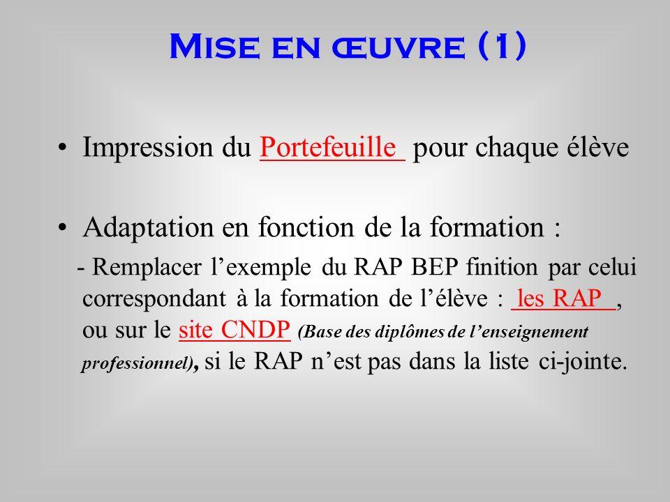 Mise en œuvre (1) Impression du Portefeuille pour chaque élèvePortefeuille Adaptation en fonction de la formation : - Remplacer lexemple du RAP BEP fi