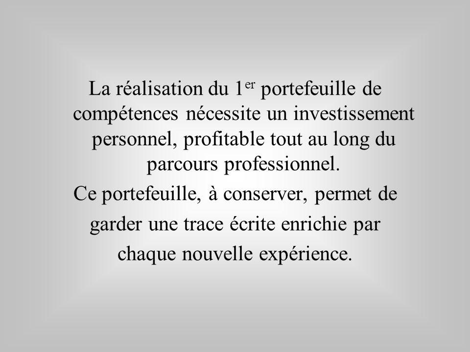 La réalisation du 1 er portefeuille de compétences nécessite un investissement personnel, profitable tout au long du parcours professionnel. Ce portef