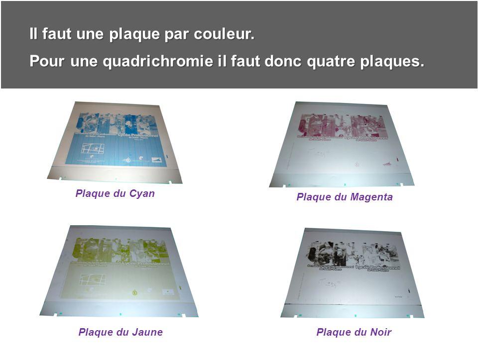 Ces plaques seront ensuite calées sur les presses afin de réaliser limpression.