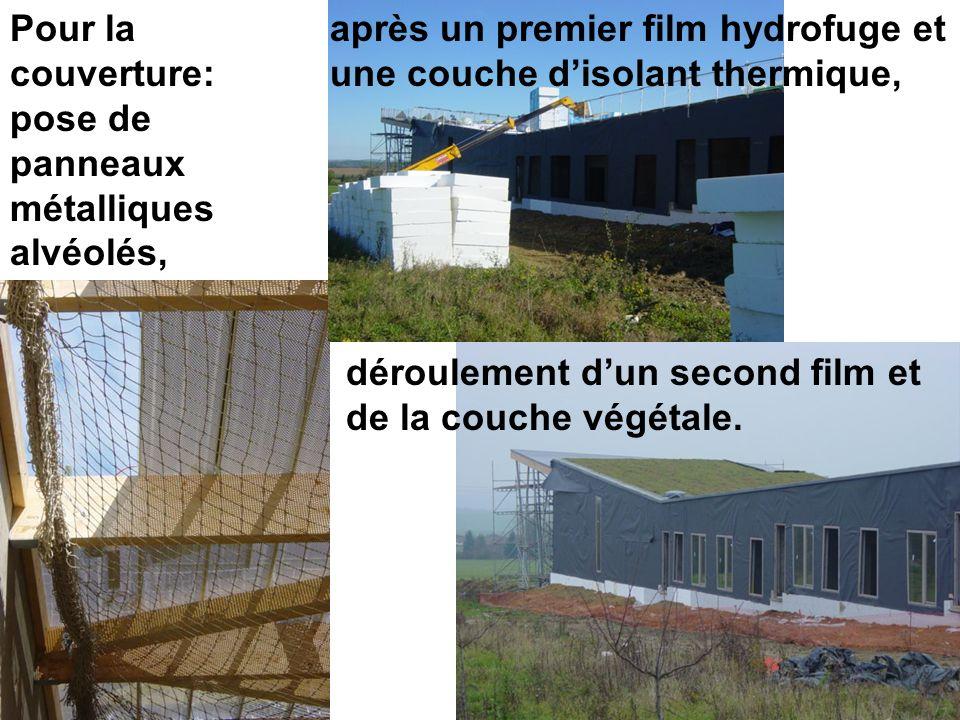 Pour la couverture: pose de panneaux métalliques alvéolés, déroulement dun second film et de la couche végétale. après un premier film hydrofuge et un