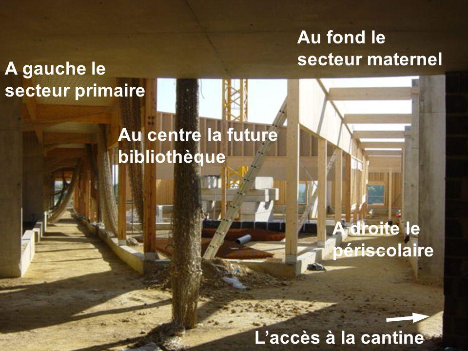 A gauche le secteur primaire Au centre la future bibliothèque A droite le périscolaire Au fond le secteur maternel Laccès à la cantine