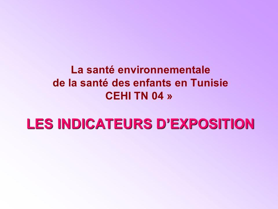 LES INDICATEURS DEXPOSITION La santé environnementale de la santé des enfants en Tunisie CEHI TN 04 » LES INDICATEURS DEXPOSITION
