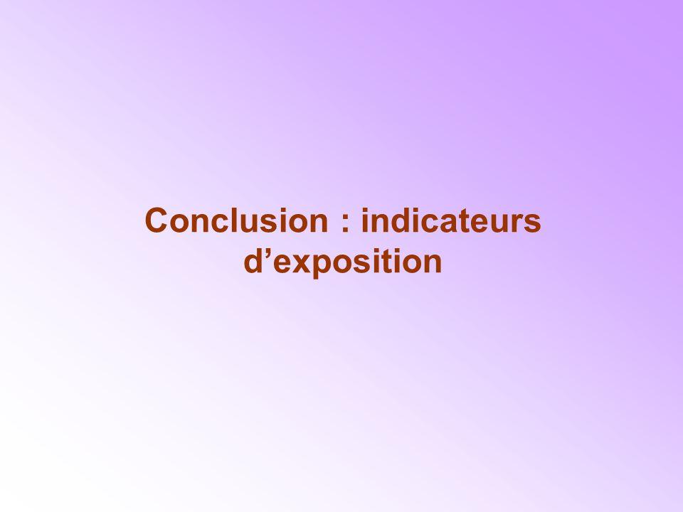 Conclusion : indicateurs dexposition