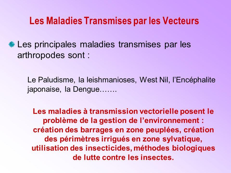 Les Maladies Transmises par les Vecteurs Les principales maladies transmises par les arthropodes sont : Le Paludisme, la leishmanioses, West Nil, lEncéphalite japonaise, la Dengue…….