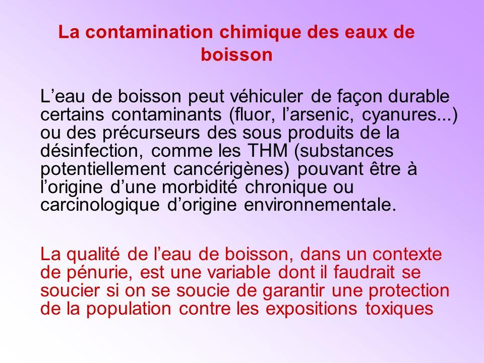 La contamination chimique des eaux de boisson Leau de boisson peut véhiculer de façon durable certains contaminants (fluor, larsenic, cyanures...) ou des précurseurs des sous produits de la désinfection, comme les THM (substances potentiellement cancérigènes) pouvant être à lorigine dune morbidité chronique ou carcinologique dorigine environnementale.