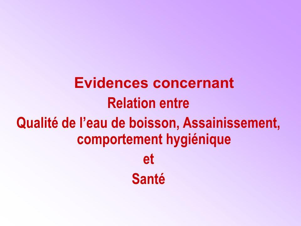 Evidences concernant Relation entre Qualité de leau de boisson, Assainissement, comportement hygiénique et Santé