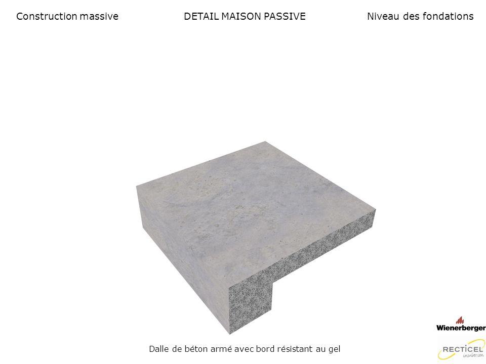 DETAIL MAISON PASSIVE Seuil de fenêtre et protection solaire Construction massiveNiveau des fondations