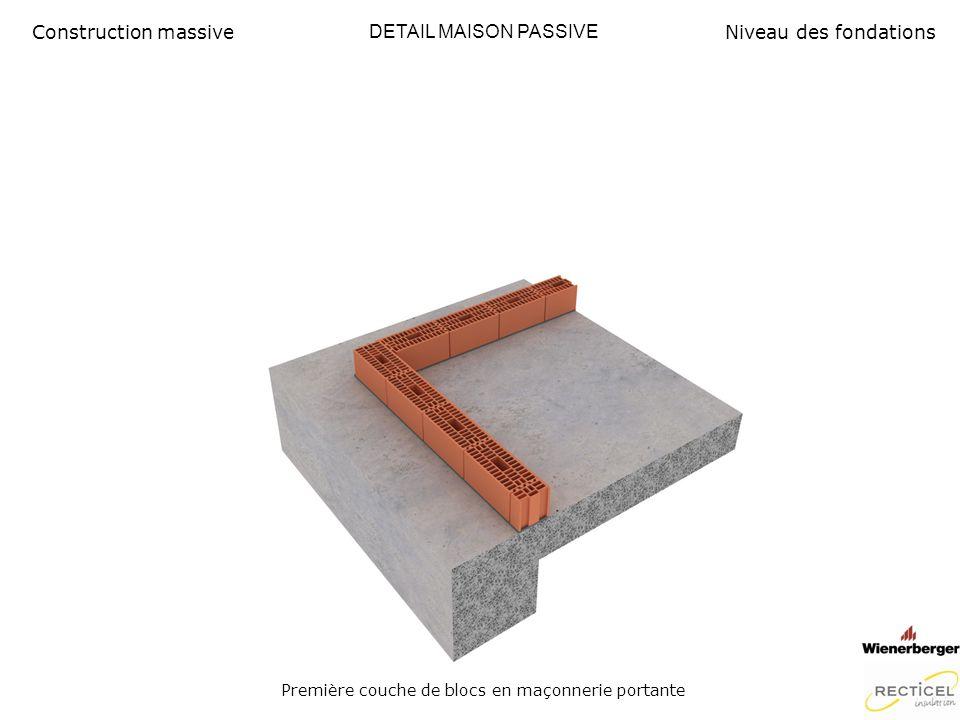 DETAIL MAISON PASSIVE Plâtrage intérieur Construction massiveNiveau des fondations