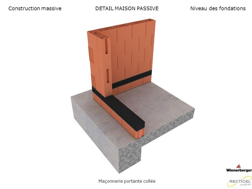 DETAIL MAISON PASSIVE Naissance isolation avec membrane détanchéité en matière EPDM Construction massiveNiveau des fondations