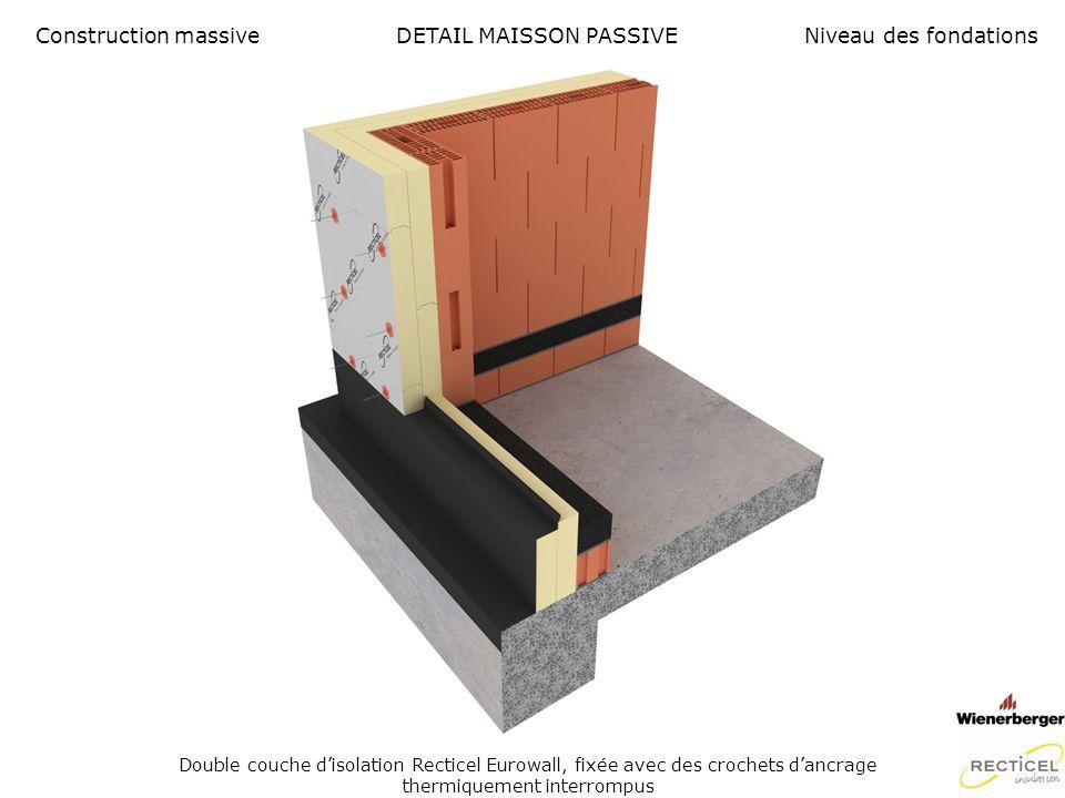 DETAIL MAISON PASSIVE Maçonnerie de façade Construction massiveNiveau des fondations