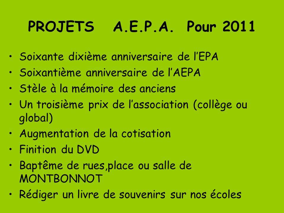 PROJETS A.E.P.A. Pour 2011 Soixante dixième anniversaire de lEPA Soixantième anniversaire de lAEPA Stèle à la mémoire des anciens Un troisième prix de
