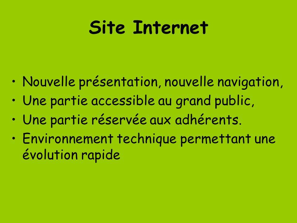 Site Internet Nouvelle présentation, nouvelle navigation, Une partie accessible au grand public, Une partie réservée aux adhérents. Environnement tech