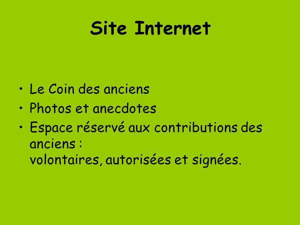 Site Internet Le Coin des anciens Photos et anecdotes Espace réservé aux contributions des anciens : volontaires, autorisées et signées.
