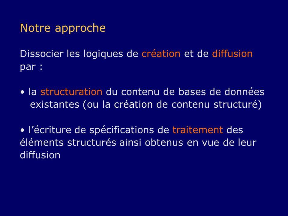 Notre approche Dissocier les logiques de création et de diffusion par : la structuration du contenu de bases de données existantes (ou la création de