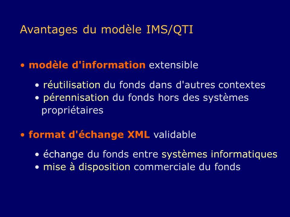 Avantages du modèle IMS/QTI modèle d'information extensible réutilisation du fonds dans d'autres contextes pérennisation du fonds hors des systèmes pr