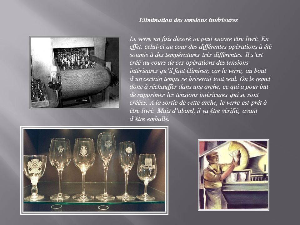 Elimination des tensions intérieures Le verre un fois décoré ne peut encore être livré.