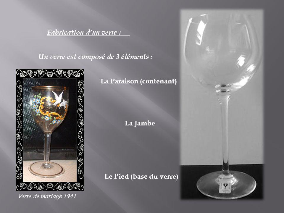Fabrication dun verre : Un verre est composé de 3 éléments : La Paraison (contenant) La Jambe Le Pied (base du verre) Verre de mariage 1941