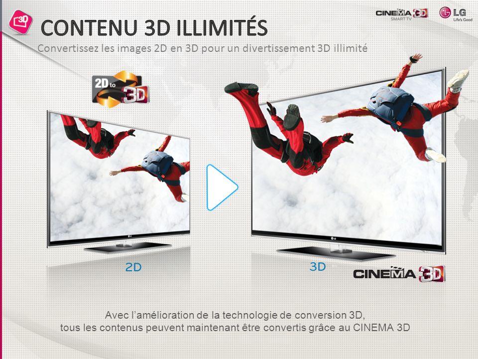 Convertissez les images 2D en 3D pour un divertissement 3D illimité Avec lamélioration de la technologie de conversion 3D, tous les contenus peuvent maintenant être convertis grâce au CINEMA 3D