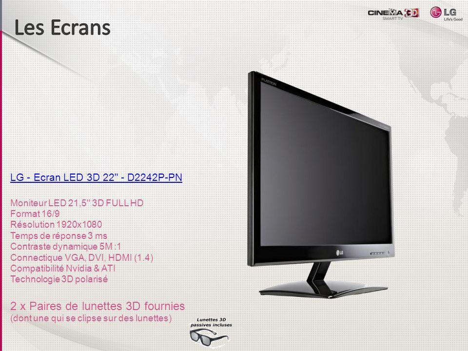 LG - Ecran LED 3D 23 - D2342P-PN Ecran LED 3D 23 avec dalle TN Format 16/9 Résolution 1920x1080 Temps de réponse 3 ms Contraste 5M :1 Connectique VGA, DVI, HDMI Compatibilité Nvidia et ATI 2 x Paires de lunettes 3D fournies (dont une qui se clipse sur des lunettes)