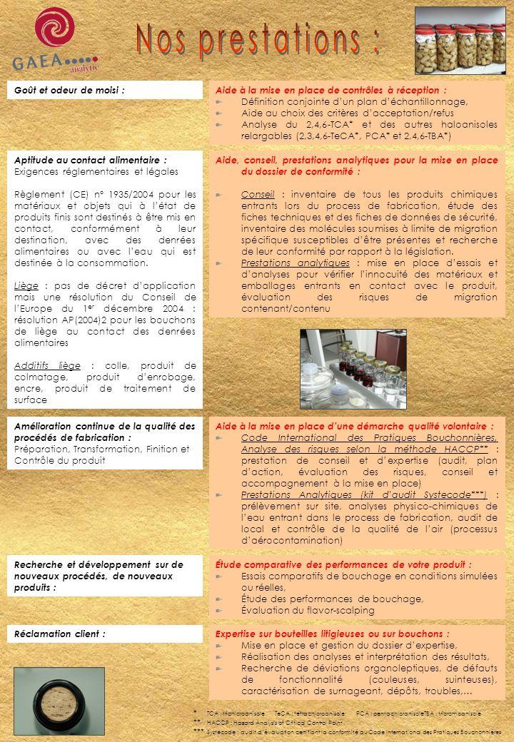 Goût et odeur de moisi :Aide à la mise en place de contrôles à réception : Définition conjointe dun plan déchantillonnage, Aide au choix des critères