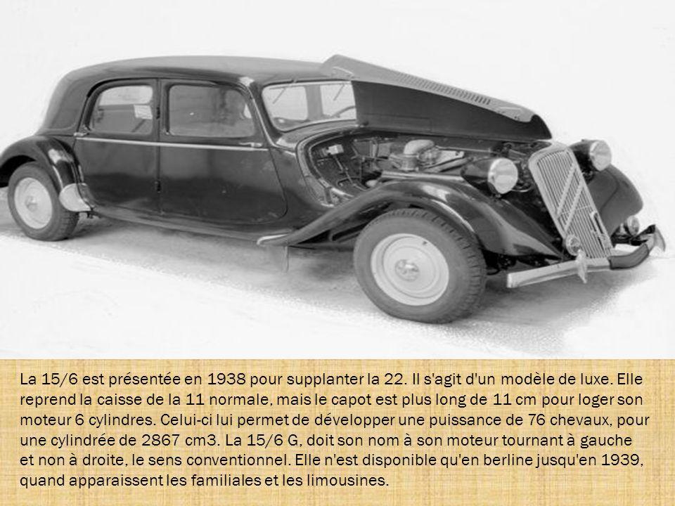 Au salon de septembre 1934, Citroën dévoile un nouveau modèle grand luxe : la 22. C'est une version sport. Sa calandre est plus imposante. Elle possèd