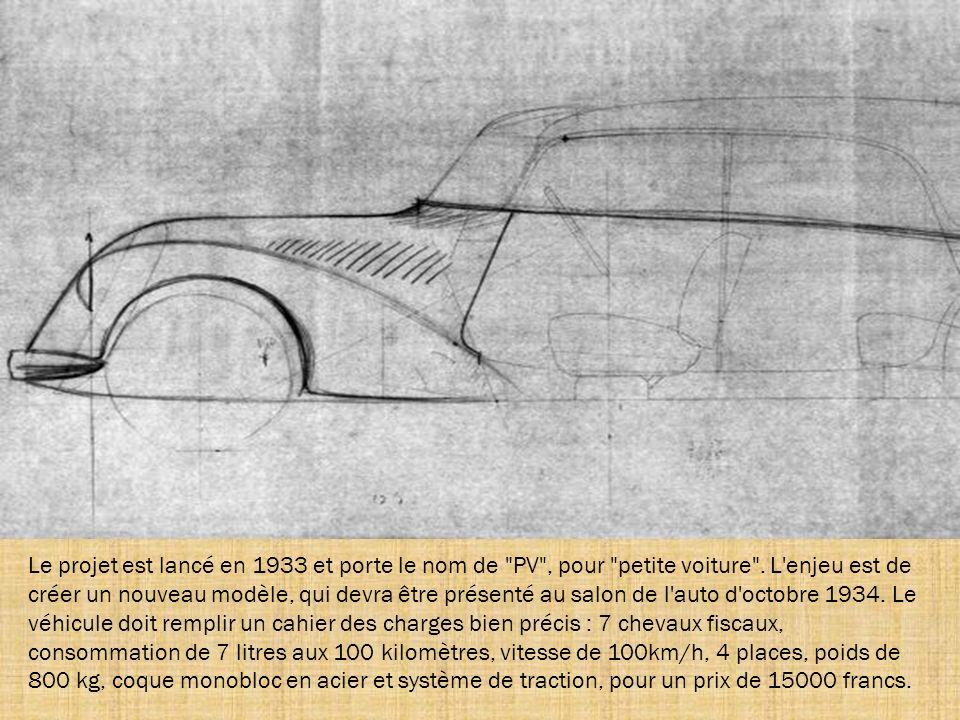 Née du désir d'innovation et d'originalité de Citroën, la Traction répond aux trois mots d'ordre de son constructeur : économie, confort et sécurité.